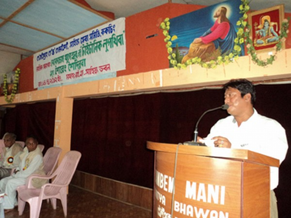 Editor of TSE  (Manipuri) speaking at a book releasing function