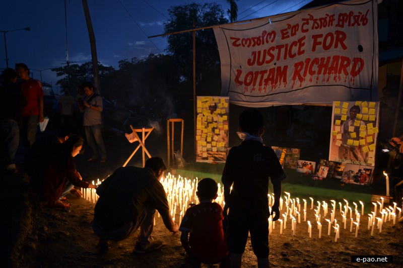 Candle light at Imphal in memory of Richard Loitam  :: 29 April 2012