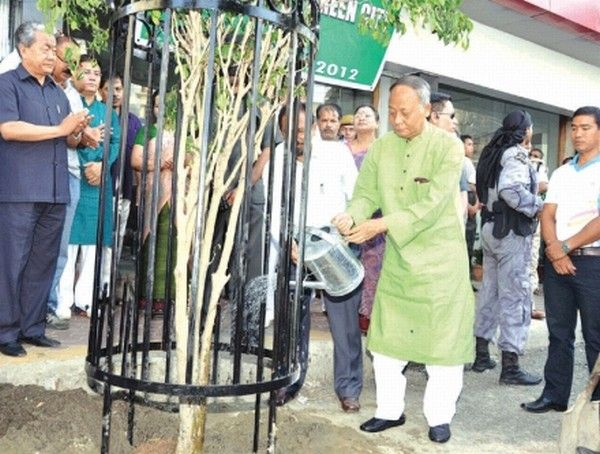 CM Ibobi watering a fully-grown tree after plantation as other Ministers/MLAs clap ped