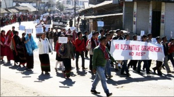 File picture of a rally to demand alternative arrangement