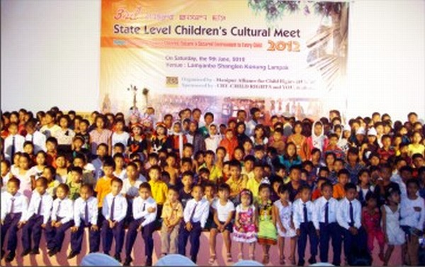 Participants pose during the opening ceremony of the children's Cultural Festival