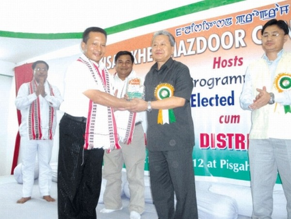 Minister Gaikhangam being felicitating at the function