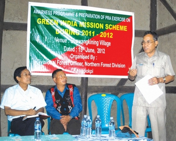 A resource person delivering lecture during an awareness programme on Green India Mission at Senapati