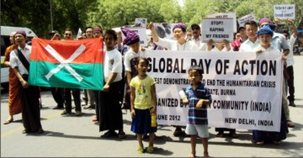A protest rally being taken out by Kachin State immigrants in New Delhi in June 2012