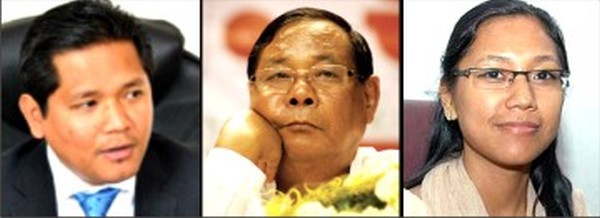PA Sangma flanked by son Conrad (L) and daughter Agatha (R)