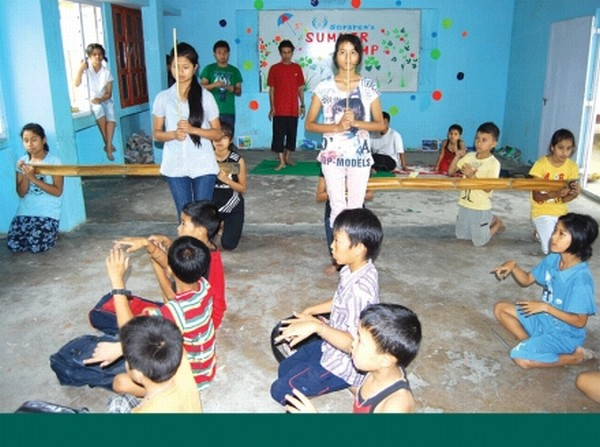 Young boys and girls participating in the summer camp conducted by Soraren Repertory Theatre at Kakwa Asem Leikai