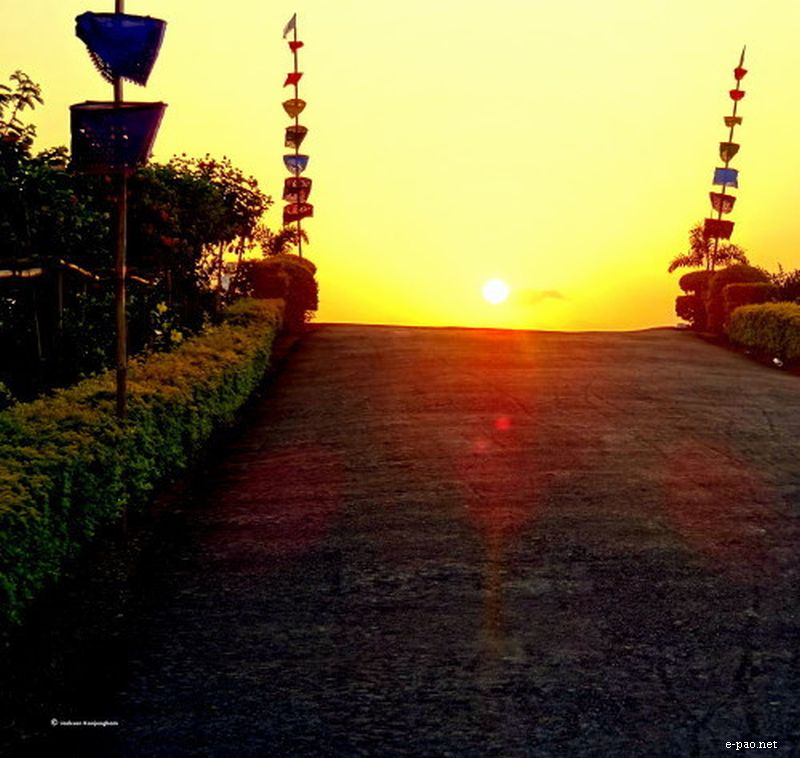 Sun set at Uyok Ching , Kakching, Manipur on May 23 2012