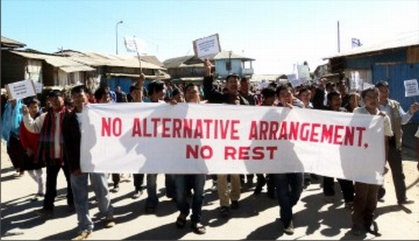 A rally staged to demand alternative arrangement for the Nagas of Manipur