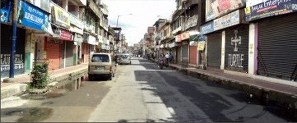 Shops remaining closed on account of the Bharat bandh at Paona Keithel