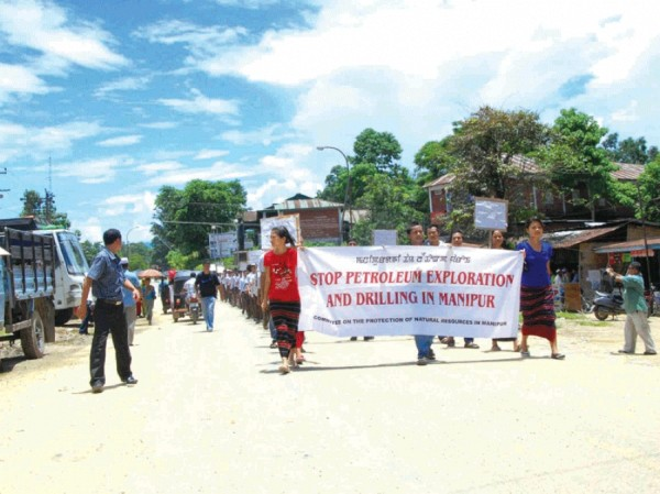 Would-be affected villagers rallying at Jiribam against the public hearing conducted in connection with the proposed petroleum exploration and drilling