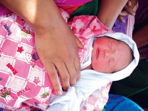A newly born baby girl at JNIMS