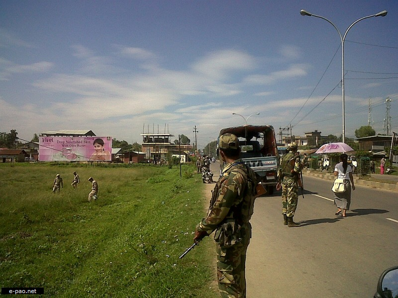 Army patrolling after a bomb blast on the road median of Tiddim Road near Tidim Ground, Imphal on September 08 2012