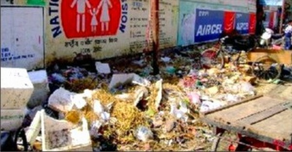 File pic of garbage piled up at the roadside in Imphal