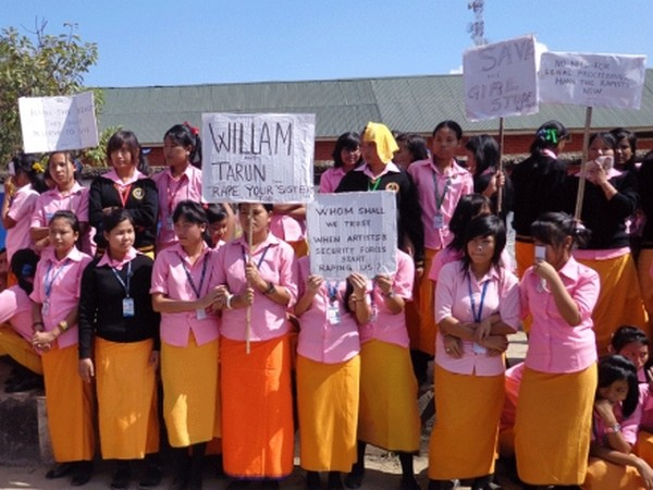Students of TG Higher Secondary School demonstrating against rape of a student
