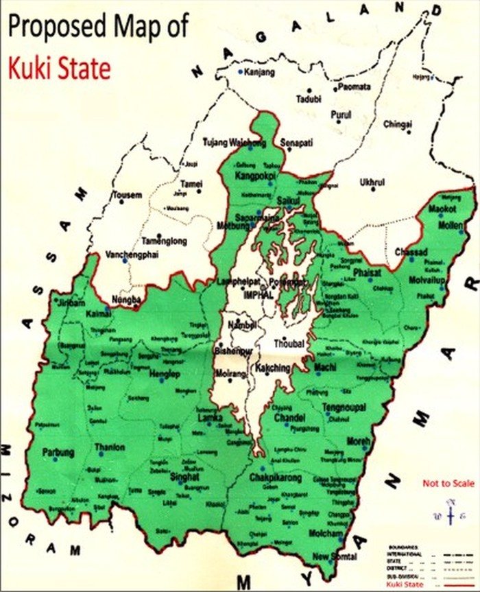 The proposed map of 'Kuki State' covering more than half of Manipur's territory spread over five hill districts