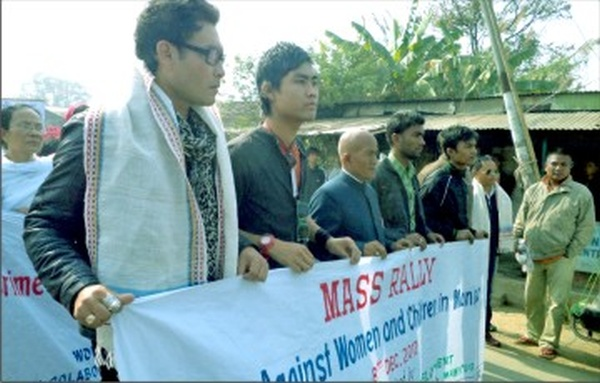 Popular actor Bonny Sharma and others taking part in a rally