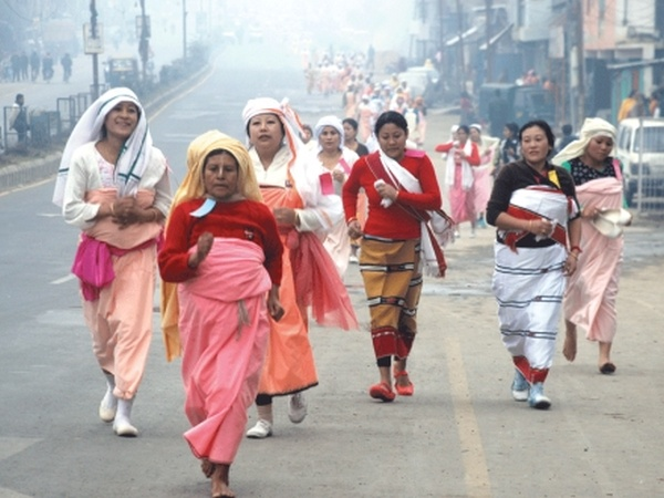 Womenfolk of different communities in Manipur participating in Nupi Lal 'Ningshing Lamjel' (memorial race)