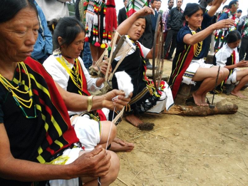 Poumai womenfolks threading at Hiiduna Cultural cum Literary Meet held at Poumai Centre Ground, Purul in Senapati District