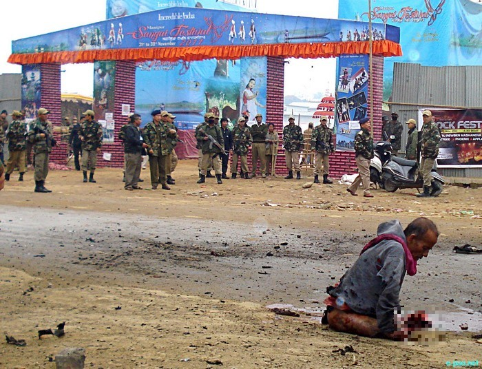Imphal Bomb Blast in front of Manipur Sangai Tourism Festival Main Gate :: November 30 2011