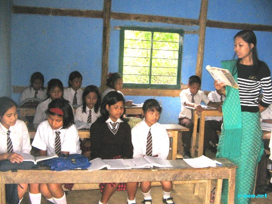 A classroom in session at Morning Dew School situated at Kapaar Kachoung Village under Kakching, Manipur