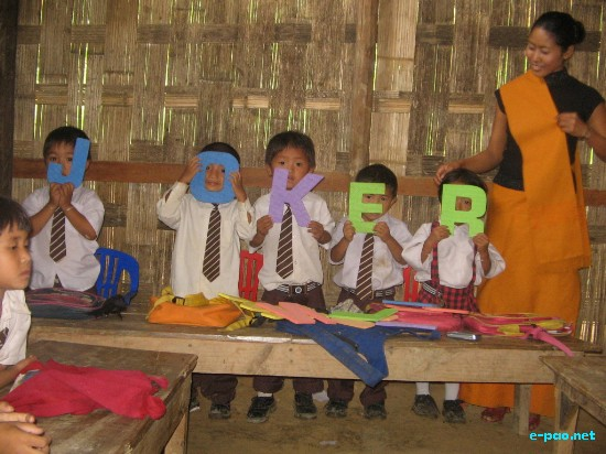 A classroom for Kids at Morning Dew School in Kakching in 2008