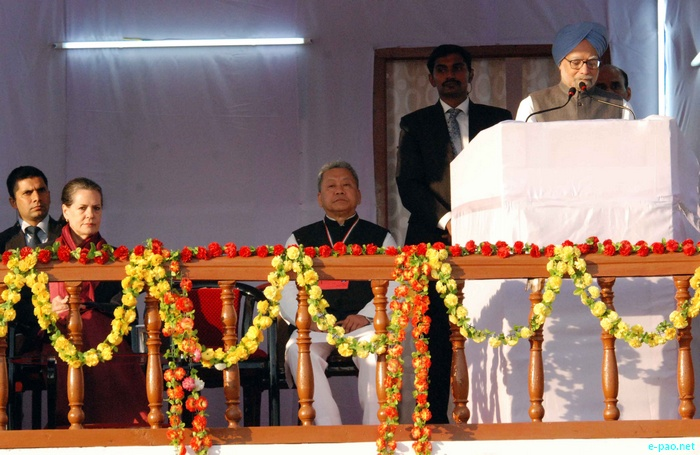 Prime Minister Dr Manmohan Singh and UPA Chairperson Sonia Gandhi visit Imphal on 03 December 2011