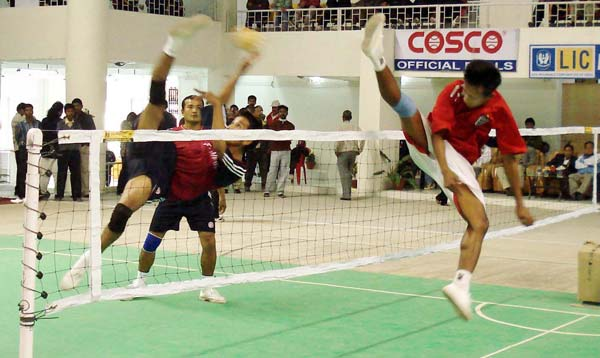 An action from Men's Sepak Thakraw Team Event Final at the 33rd National Games in Guwahati on Saturday, February 17, 2007
