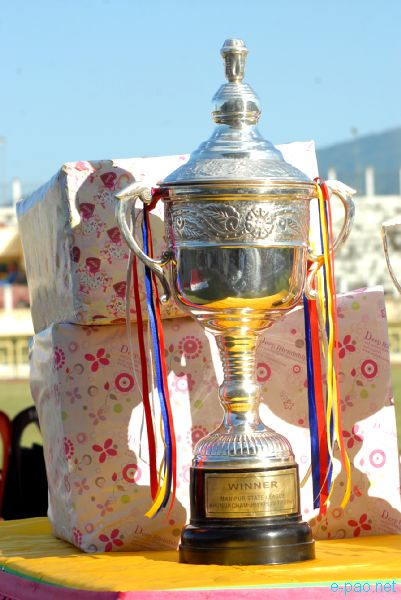 Winner Trophy at display at the final day of 7th edition of Manipur State League football tournament 2012 on 23 October 2012'
