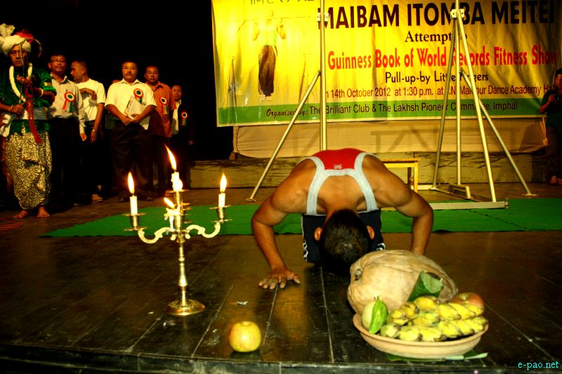 Maibam Itomba Meitei :: Guinness world Record attempt in action pull up at Imphal on Oct 14 2012