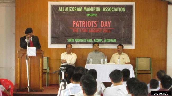 From L to R :- H. Bihari Singh (Guest of Honour), M. Shyamsundar Singh (Chief Guest), Y. Iboyaima Singh ( President of AMMA)