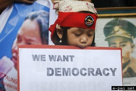 Burmese activists staged a protest rally on August 08 2011