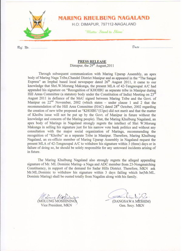 Press Release from Maring Khulbung Nagaland