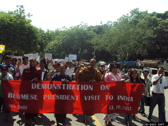 Burmese activists in India demonstrate on Thein Sein's visit to India n October 13 2011.