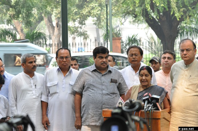 BJP team speaking to the Press after meeting the PM