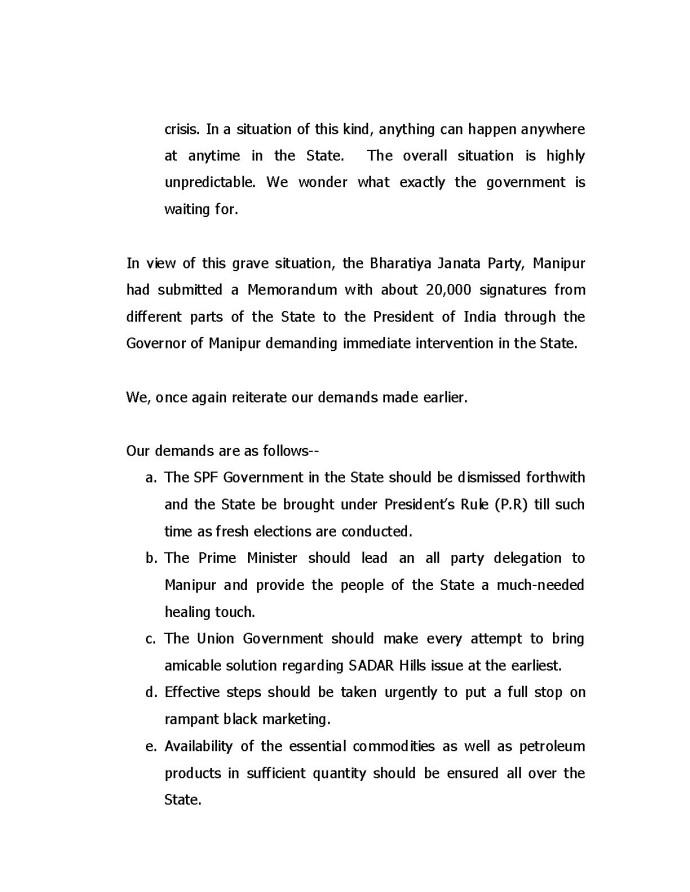 High Level BJP Team letter to PM on grave situation in Manipur