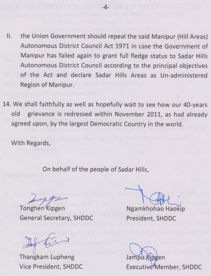 SHDDC memo to Union Minister of Tribal Affairs