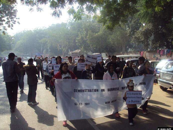 Burmese activists staged a protest demonstration at Janta Manta, New Delhi on Dec 14 2011