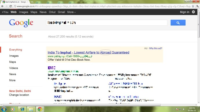 Imphal advertised as an Abroad destination in a major Indian travel site