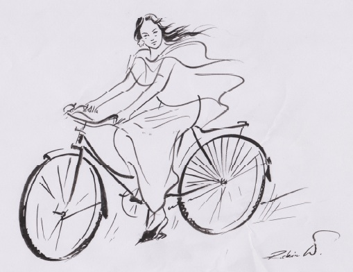 Binodini on bicycle