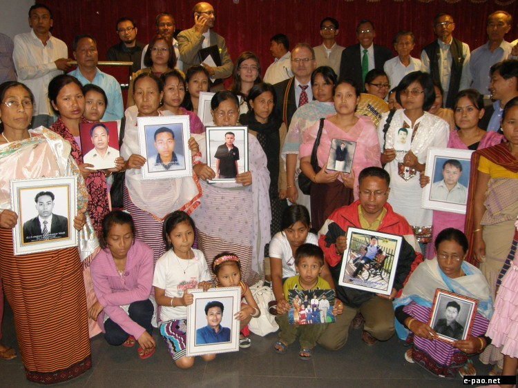 Families of the victims during a meeting with UN Special Rapporteur Prof Christof Heyns at Guwahati in March 2012