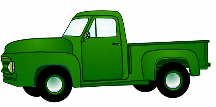 An Old green pickup from 1950s