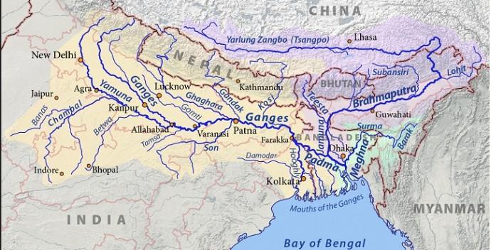 Map of Ganga River Basin