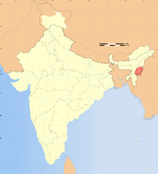 Manipur and India Map
