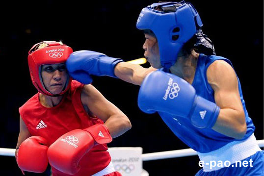 Mary Kom Quarterfinals 15-6 win over Maroua Rahali of Tunisia